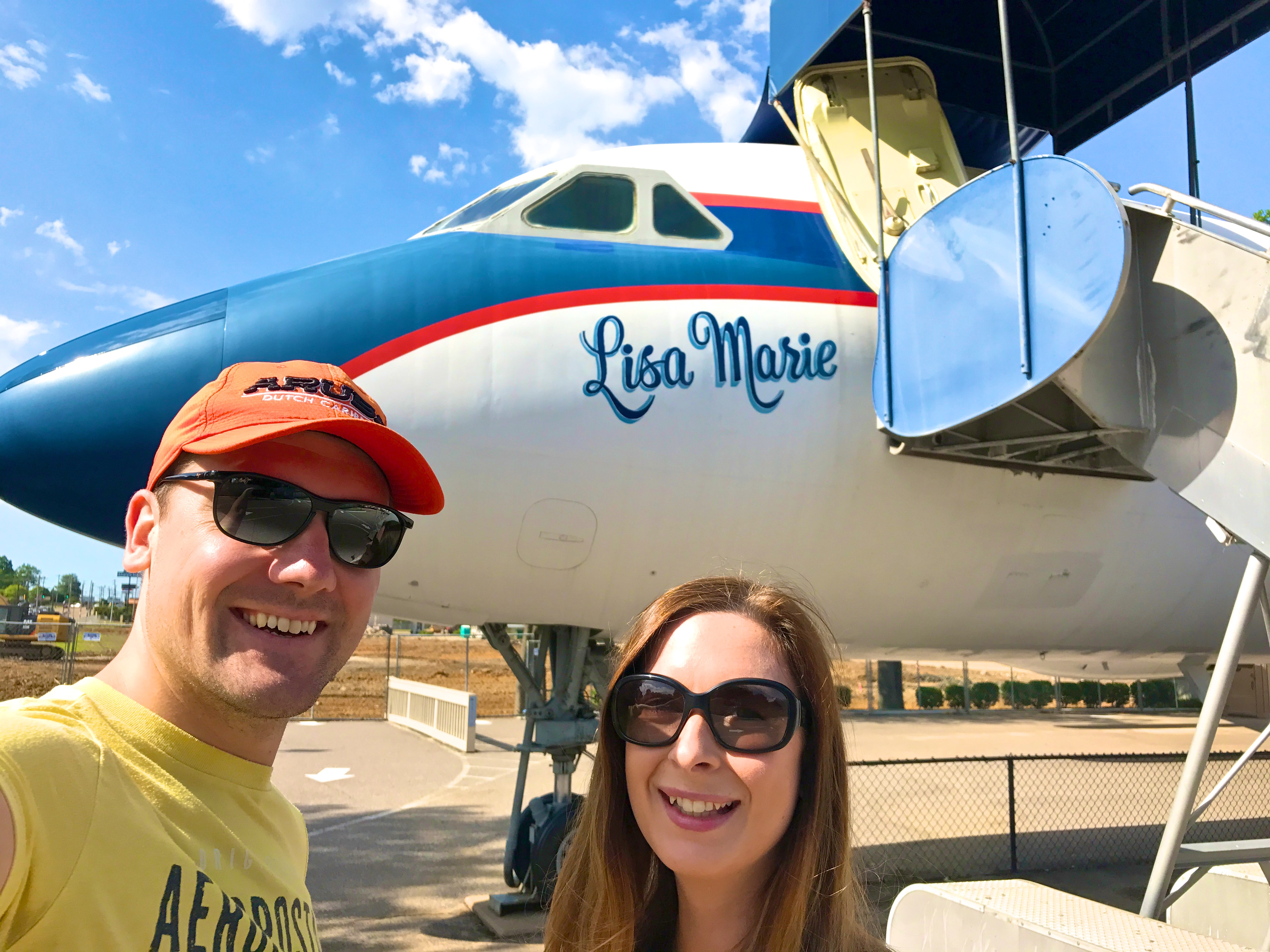 Stephen and I next to the Lisa Marie airplane