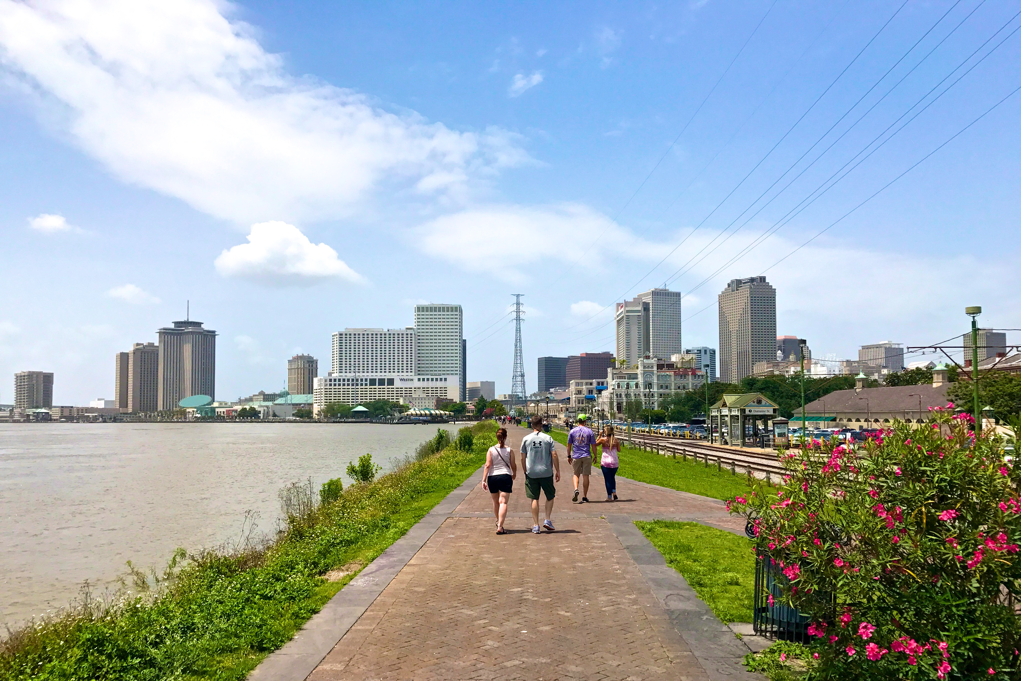 Walking along the river in New Orleans