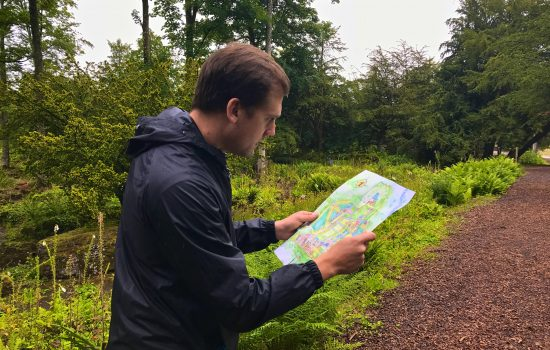 Stephen trying to navigate Lowther Gardens